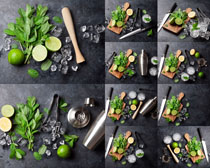 餐具与柠檬摄影高清图片