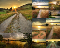 夕阳美丽道路摄影高清图片