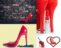 红色高跟鞋子摄影高清图片