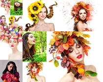 美女与花朵树叶摄影高清图片