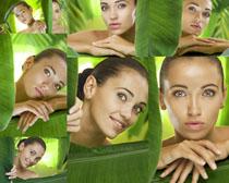叶子肌肤女人摄影高清图片