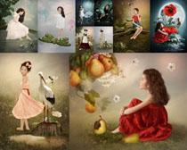 绘画景观与小女孩摄影高清图片