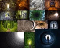 深洞口与人物摄影高清图片