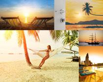 夕阳海滩风景拍摄高清图片