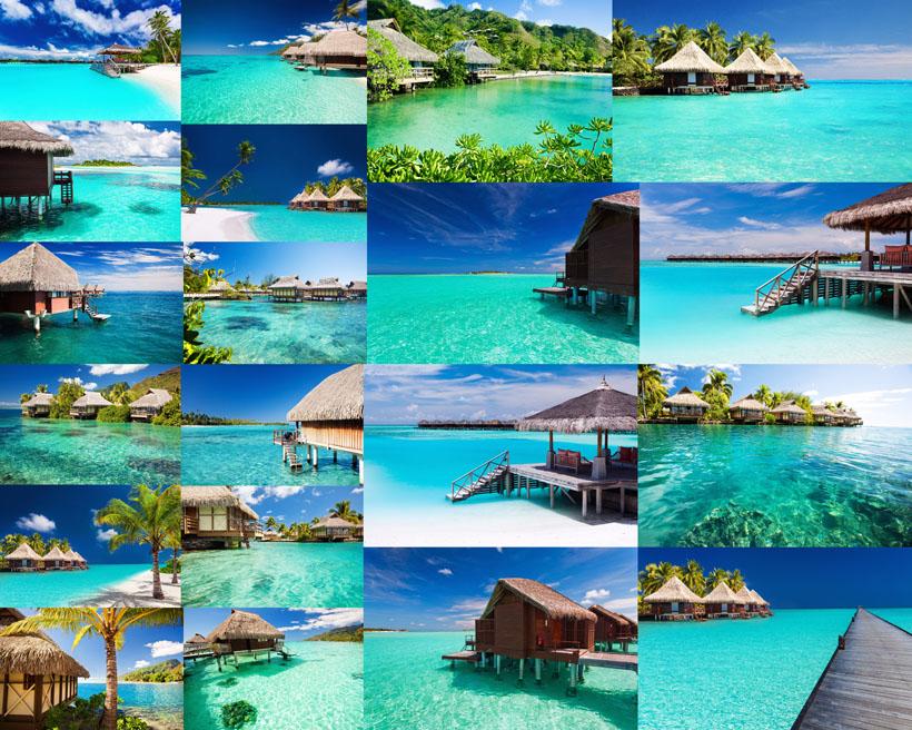 马尔代夫海边风景拍摄高清图片