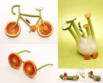 蔬菜形状组合摄影高清图片