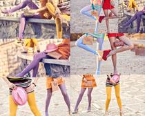 色彩丝袜女子摄影高清图片