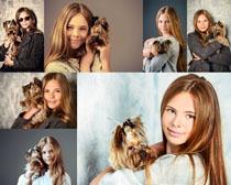 欧美女孩与狗摄影高清图片