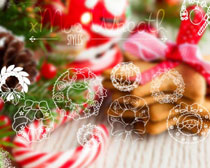 手绘圣诞花环PS笔刷素材