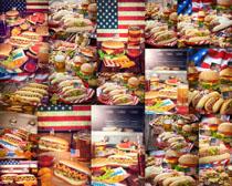 汉堡包啤酒食物摄影高清图片