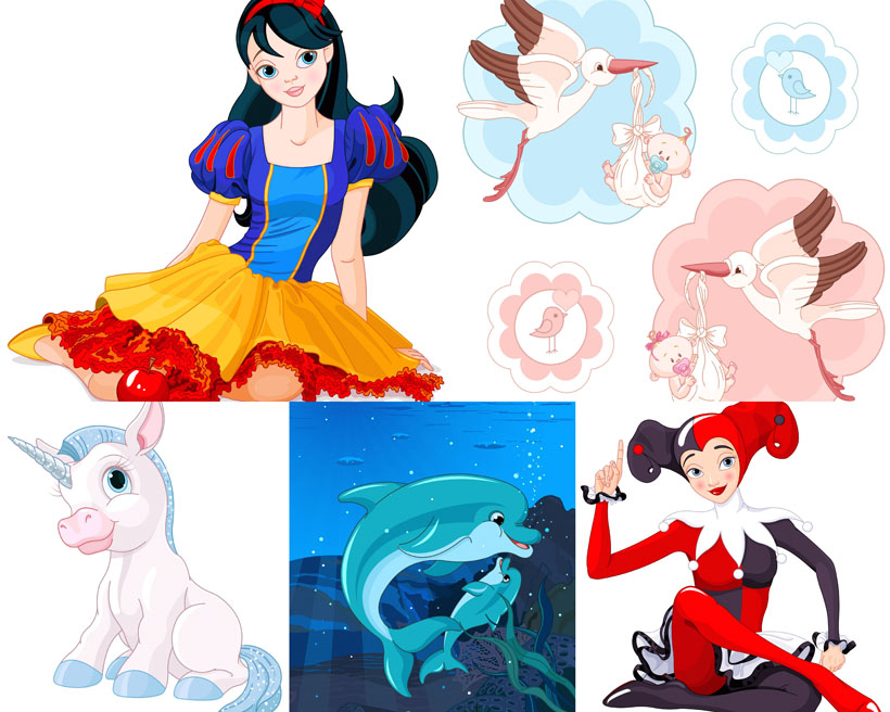 卡通画白雪公主动物人物绘画可爱漂亮拍摄