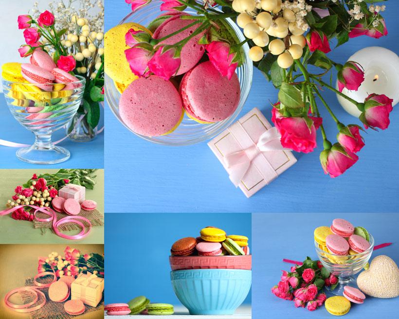 玫瑰花朵與蛋糕攝影高清圖片