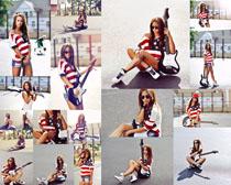 吉它与欧美女孩摄影高清图片