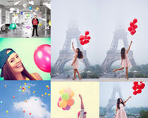 气球泡泡与美女摄影高清图片