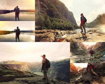 登山的运动男人摄影高清图片