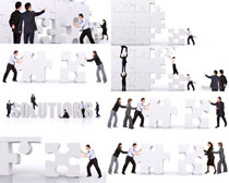 拼图与商务人士摄影高清图片