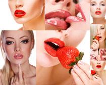 美女嘴唇与草莓摄影高清图片