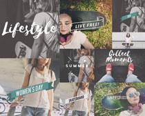 欧美女性与字母摄影高清图片