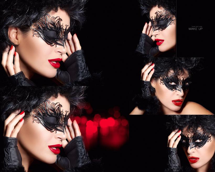 欧美面具女人摄影高清图片