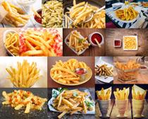 薯条与番茄酱摄影高清图片