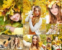 枫叶与美女拍摄高清图片