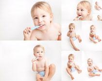 刷牙的小宝宝摄影高清图片