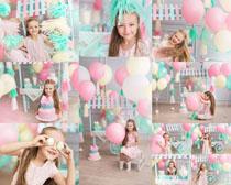 气球与小姑娘摄影高清图片