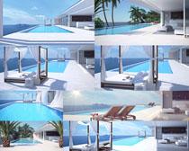 别墅风景游泳池摄影高清图片