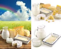 奶酪与牛奶摄影高清图片