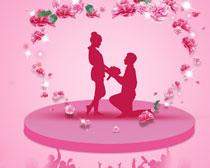 求婚浪漫背景设计PSD素材