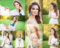 户外婚纱内衣女人摄影高清图片