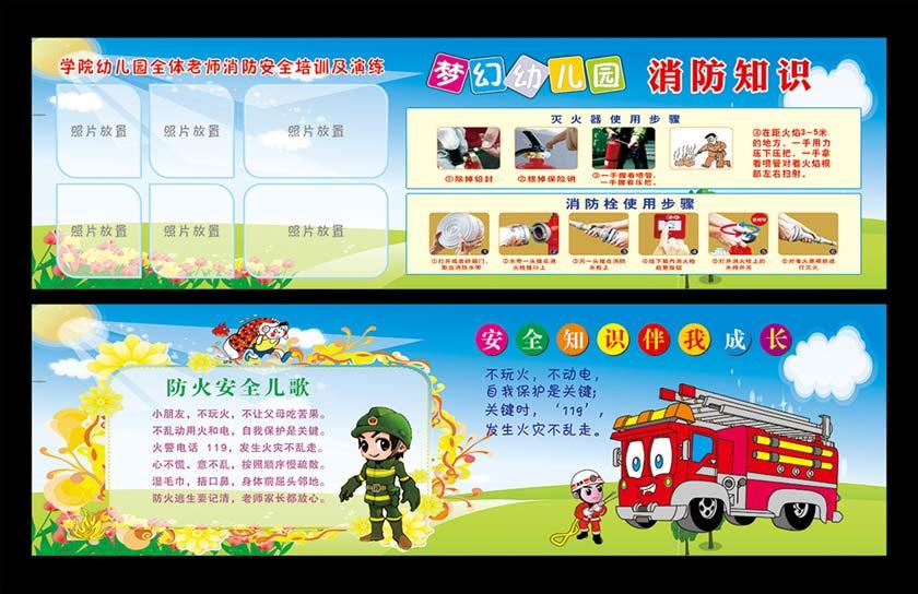 幼儿园消防知识宣传展板矢量素材