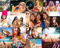 饮料与欧美美女摄影高清图片