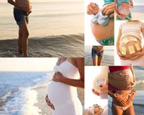 海边大肚子女人摄影高清图片
