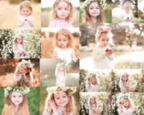 花丛与小女孩摄影高清图片