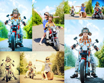 摩托车与儿童摄影高清图片