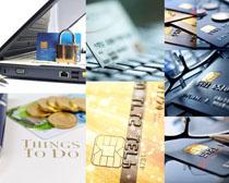 银行卡与锁摄影高清图片