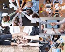 商務團隊力量攝影高清圖片