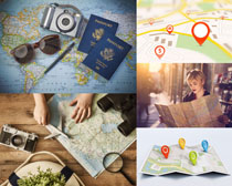 地图护照工具摄影高清图片