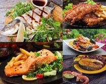 烤鱼海鲜食物摄影高清图片