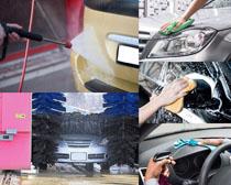 清洗汽车摄影高清图片
