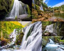 瀑布山水风景拍摄高清图片