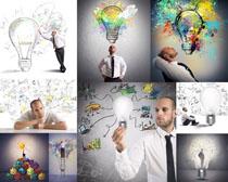 创意灯泡商务男人摄影高清图片