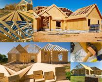 木屋建造摄影高清图片