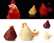 折纸公鸡摄影高清图片