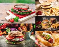 汉堡包薯条拍摄高清图片