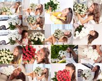 花朵与欧美女人摄影高清图片