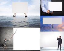 白色广告牌与职业人物高清图片