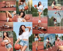 蓝球女模特美女摄影高清图片