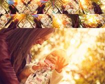 阳光下的母女摄影高清图片